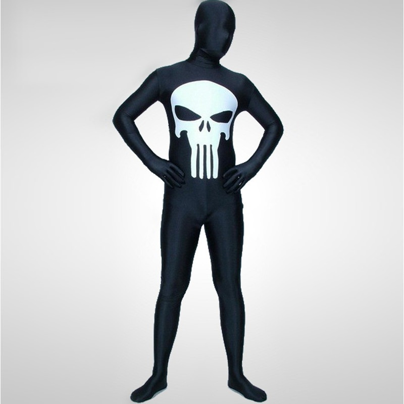 High Quality Adult/Children Shiny Metallic/Lycra Spandex Zentai Halloween Skull Costumes Mens White/Black Human Skeleton Costume