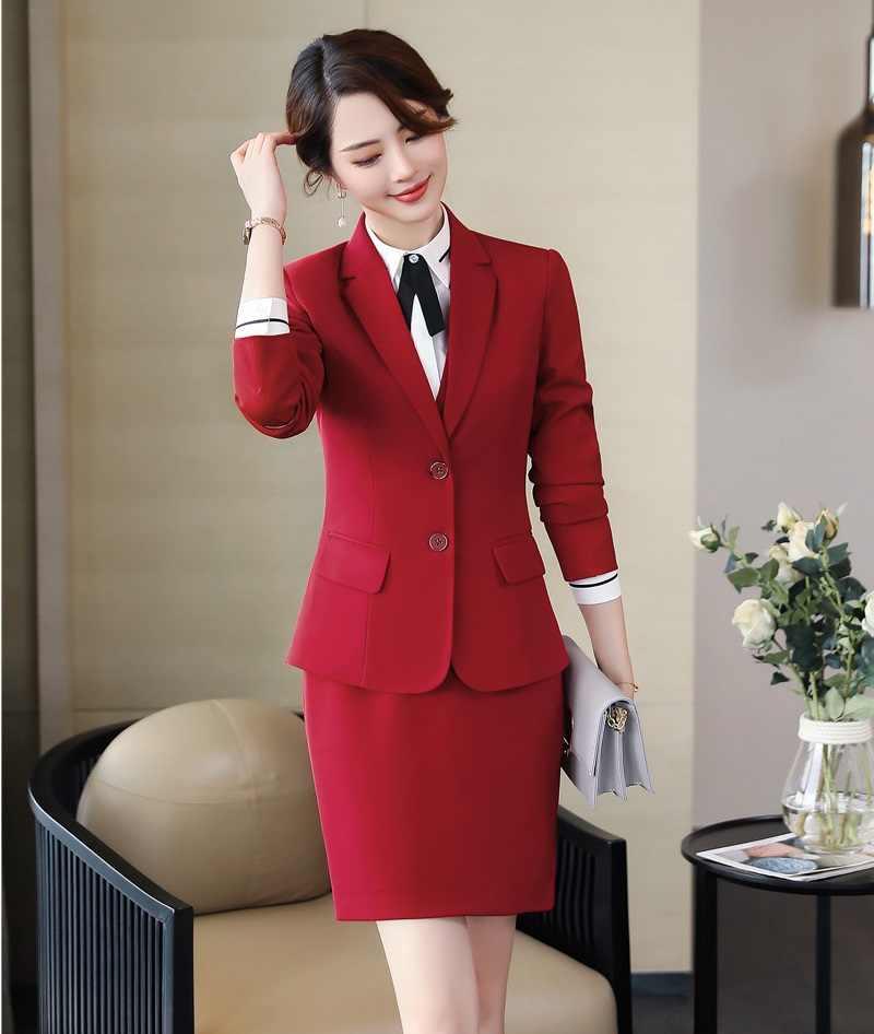 8b893ddac72d 2019 Formal elegante falda de mujer trajes chaqueta gris y chaqueta ...
