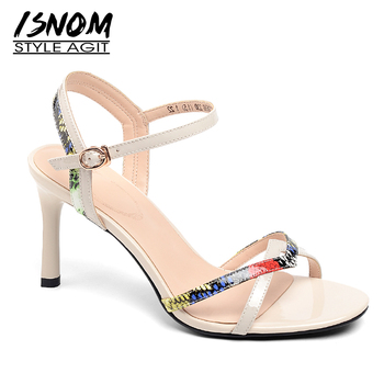 ISNOM Snake Skin Sandals Women High Heels Sandals Woman 2019 Summer Party Open Toe Shoes Female Fashion Cow Leather Shoes Lady