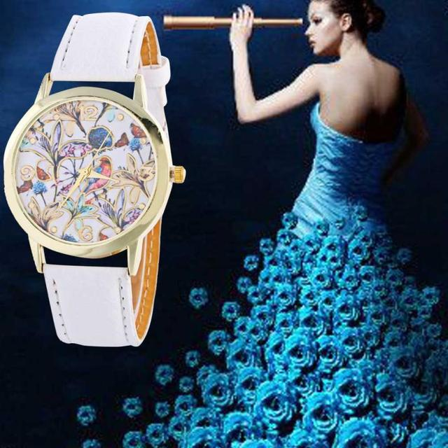 Ladies Flower Cloth WristWatch Fashion Women Dress Watch High Quality Watch Swee