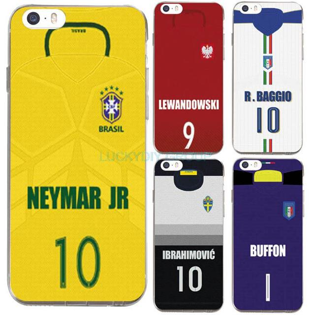IPhone 5 5S SE 6 6S 7 Plus Case Design Footballer Neymar Buffon Baggio Jersey Silicone soft slim Tpu Phone Cover