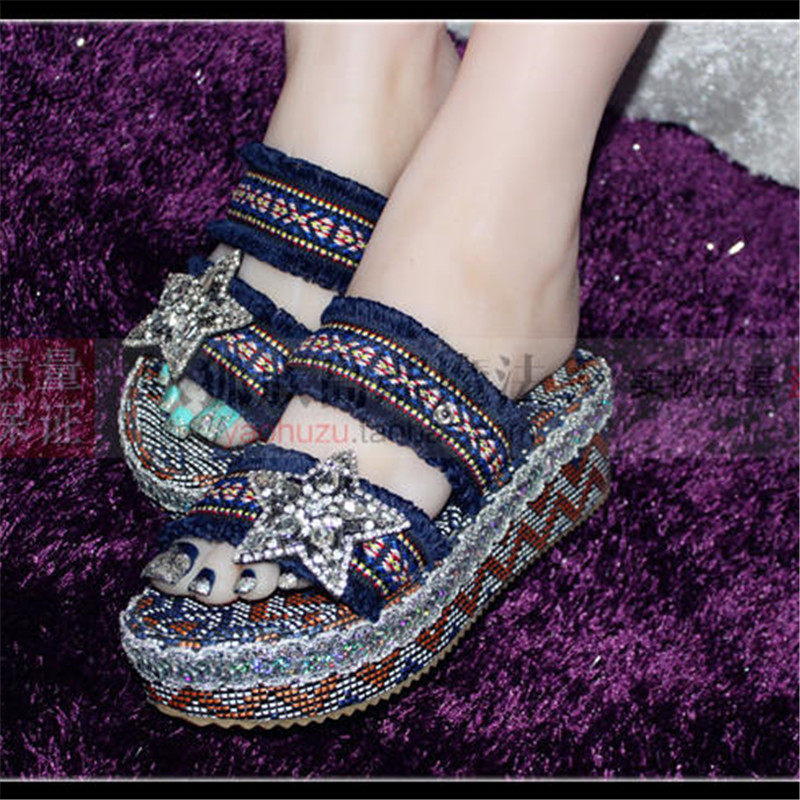 ФОТО Bling Stars Shoes Girls Women Slippers Platform Summer Women Shoes Flat Slides Platform Sandals Genuine Lining Handmade