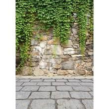 Fundo fotográfico folhas verdes piso de pedra pano vinil foto fundo para estúdio foto fotografia camear