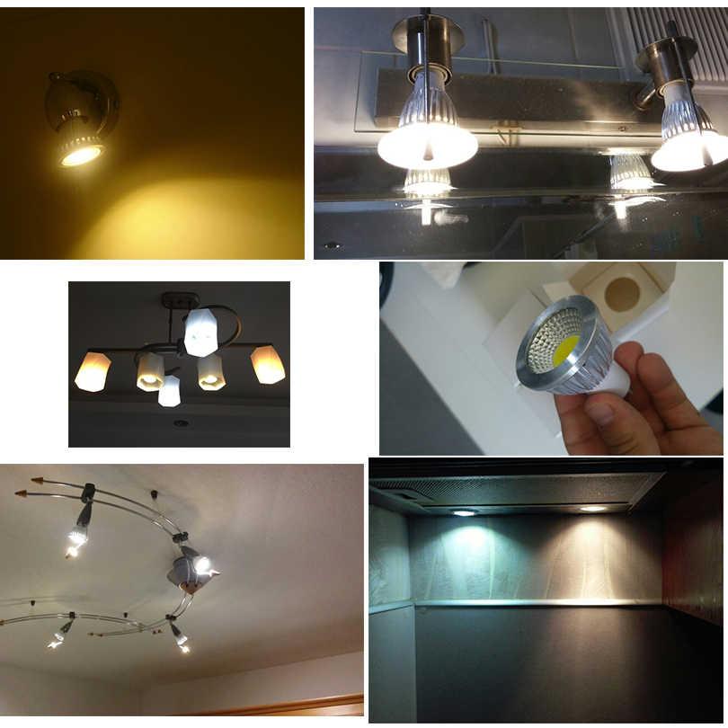 Высокая мощность E27 E14 GU53 MR16 светодиодный COB Точечный светильник с регулируемой яркостью, 9 Вт, 12 Вт, 15 Вт, точечный светильник лампа DC12V или AC85-265V