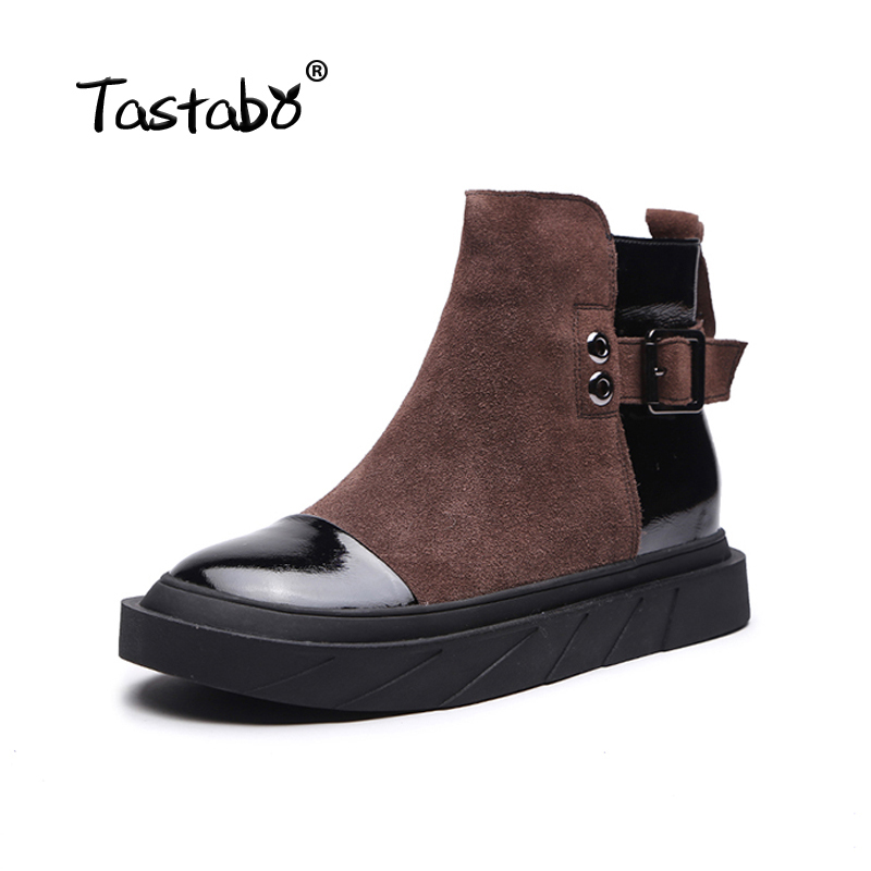 Tastabo Black Shoes Women Retro Boots Handmade Ankle Boots Women Fashion Soft Suede Leather Martin Shoes Flat-in Ankle Boots from Shoes    2