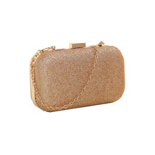 New Fashion 4 Colors Women Clutch Box Evening Party Glitter Chain Hand Bags Wallet Arrival Wholesale