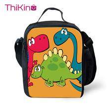Thikin Cartoon Dinosaur Lunch Bag for Boys Cute Small  Tote Shoulderbag Students Picnic Pouch Storage Messenger Box