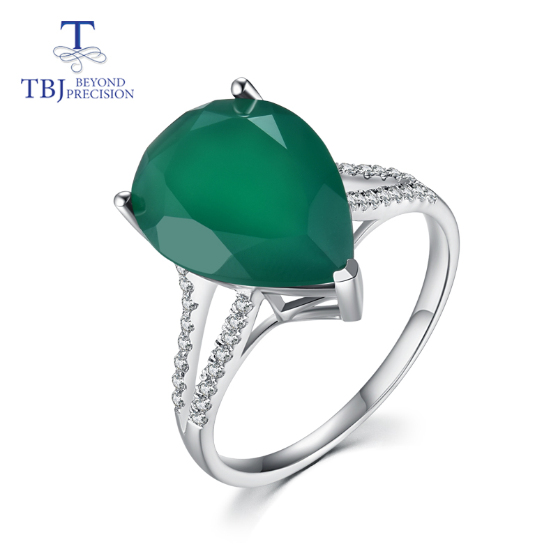 TBJ,Pear shape big size of natural green agate gemstone ring in 925 sterling silver jewelry simple ring for ladies with gift box