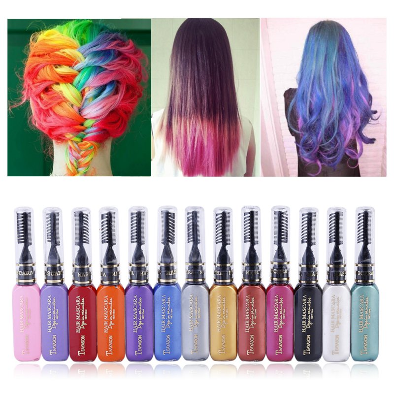 12 Colors One-time Liquid Hair Color Hair Crayons hair Dye Temporary Non-toxic DIY Hair Color Mascara Dye Cream Blue Grey Purple