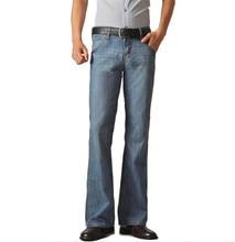 mens jeans boot cut leg slightly flared slim fit blue male jeans designer classic denim Jeans 34-48