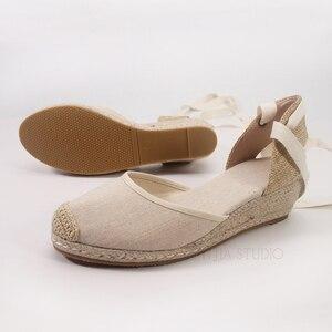 Image 5 - 5cm wedge heel women summer espadrilles sandals in beige and black color
