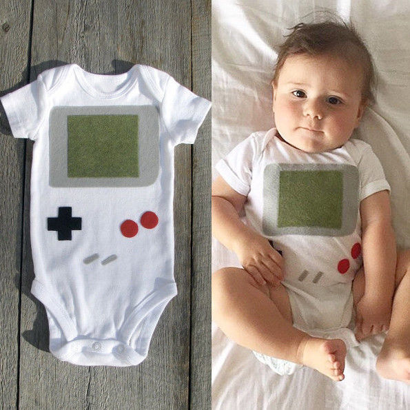 Newborn boys game player Bodysuits Lovely Baby Boy Girls Jumpsuit Bodysuit infant Kids Clothes Outfit 0-24