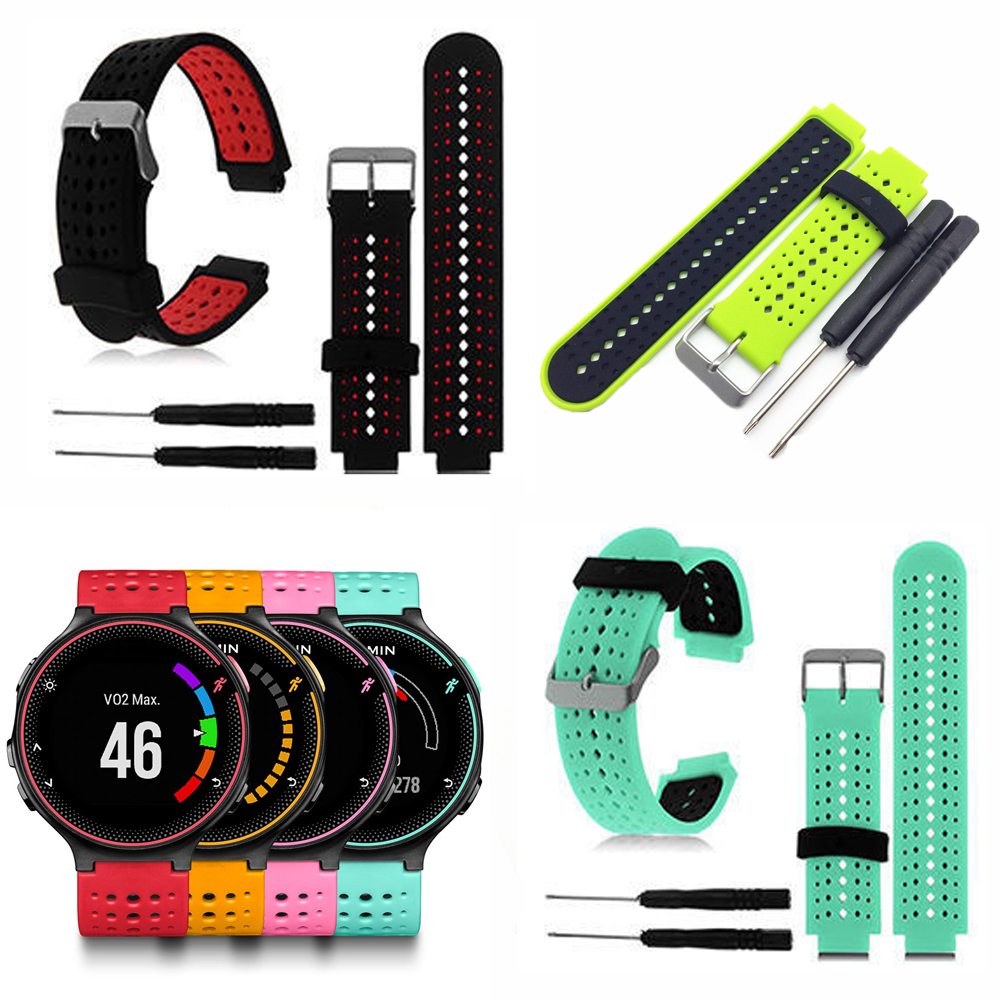 Soft Silicone Watch Strap Replacement Wrist Watch Band For Garmin Forerunner 220/230/235/620/630 Watchband With Tools new 2016metal stainless steel watch band strap for garmin forerunner 220 230 235 630 620 735 high quality 0428