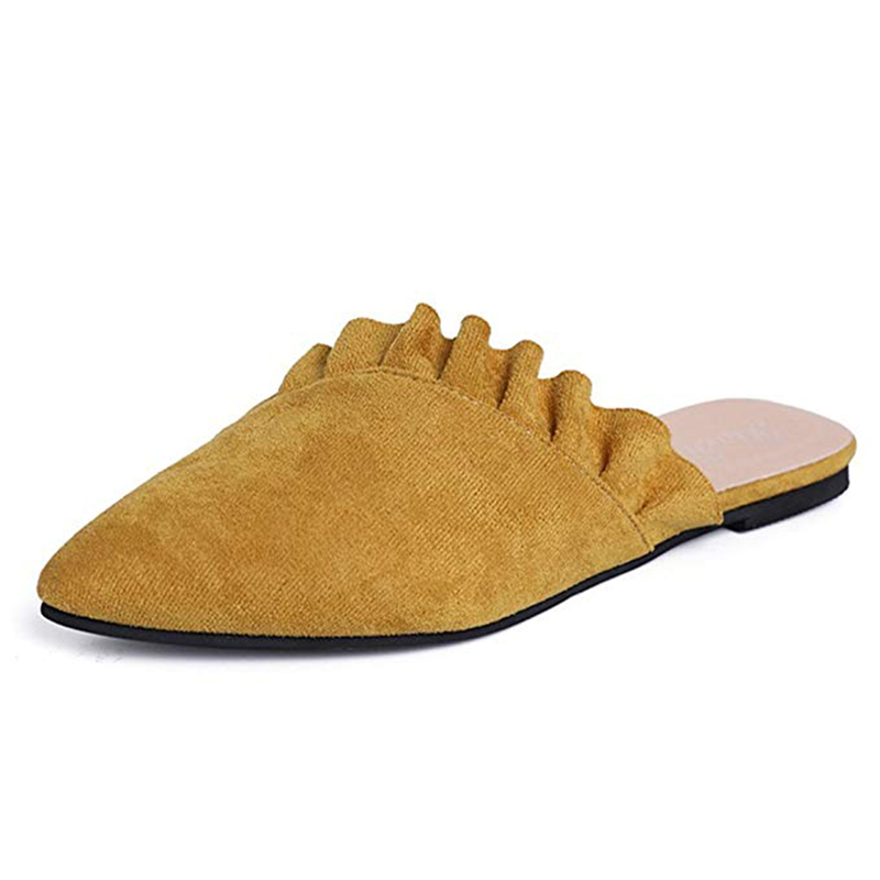 Ruches Mocassins Femme Chaussures Sur Sabots black Femmes Bout yellow Appartements Mules Mariage Dames De Casual Pink Pointu Slip Doux qzEEwpnC