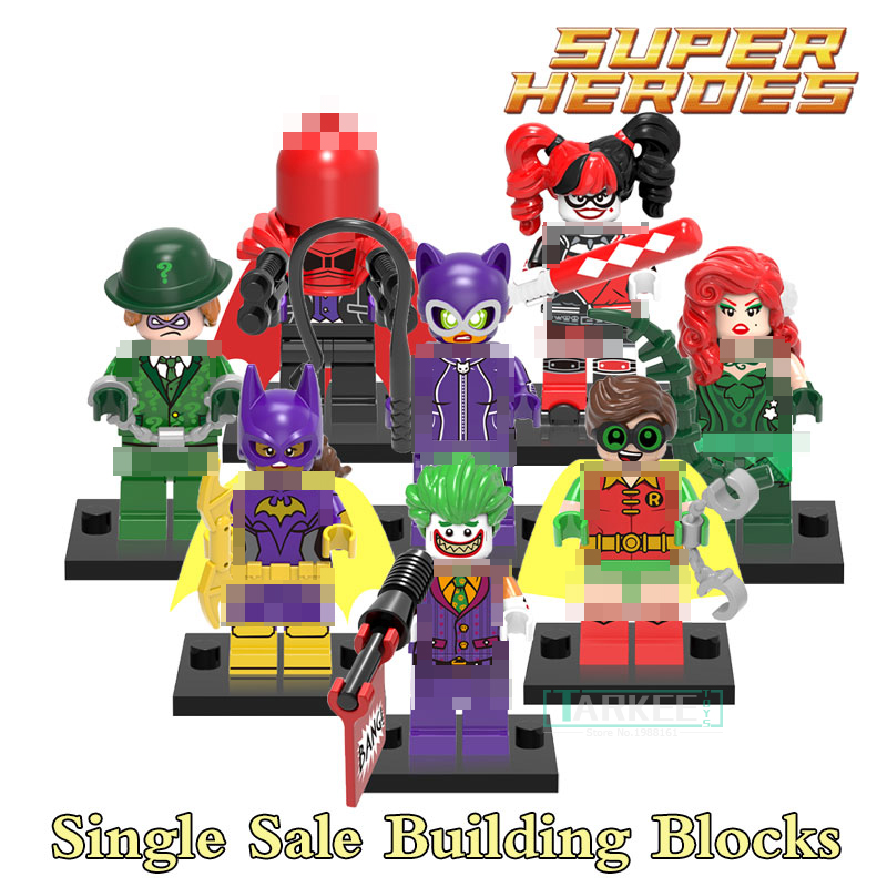 Building Blocks Catwoman Joker Batgirl Riddler Harley Quinn Batman Super Heroes Action Bricks Kids DIY Toys Educational Hobbies building blocks agent uma thurman peeta dc marvel super hero star wars action bricks dolls kids diy toys hobbies kl069 figures