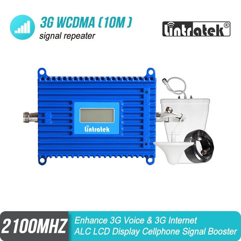 Lintratek 70dB Gain 3G WCDMA 2100 MHz puissant répéteur de Signal Mobile AGC bande 1 2100 Booster amplificateur antenne UMTS Kit de données #7