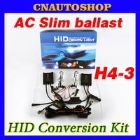 AC Slim H4 3 HID Conversion Kit 12V 35W Ballast Auto Bulb Telescopic Hi Lo Beam