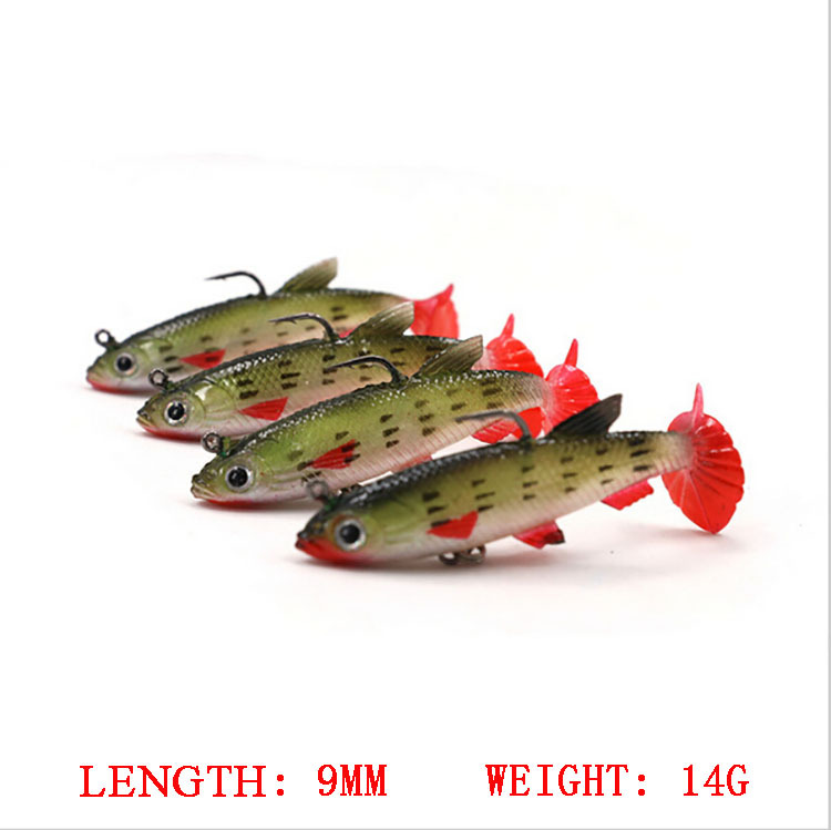 Fishing Lure Soft Lure 9cm 14g per pce 4pce/lot Lead Soft Color Package Road Bait Silica High Degree Fishing Simulation pesca