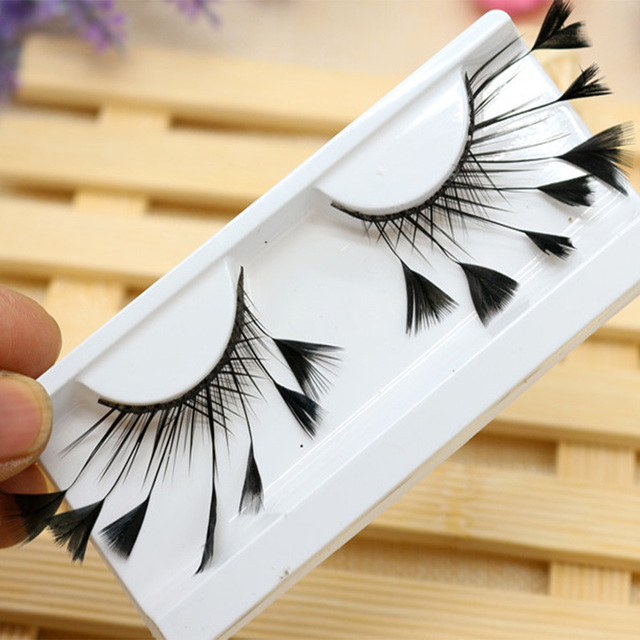 1 Pair Masquerade Stage Charming False Eyelash Art Artificial Feather Soft Makeup Party Fashion Exaggerated Tool Long Reusable 3