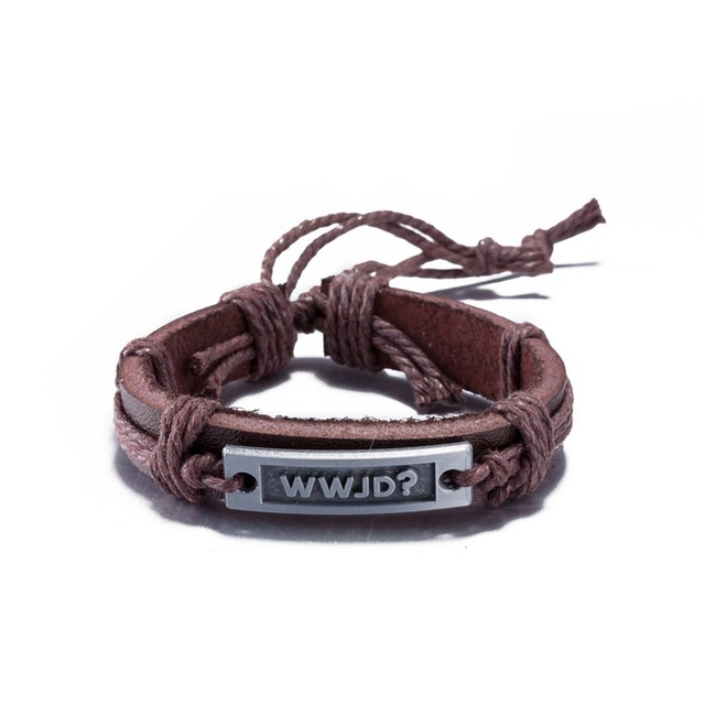 Wwjd Engraved Charm Leather Bracelets For Women Men Adjule Rope Wristband Cuff Male Female Friendship