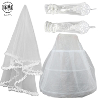 2016 Wedding Accessories Three Piece For Bridal Wedding Veil Of White Lace Edge Veils Veu De