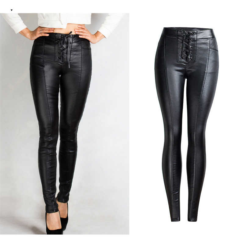 8d4cea1947f 2019 Winter Skinny Jeans Woman Lace-Up Women Black Pu Leather Jeans Femme  Mujer Plus