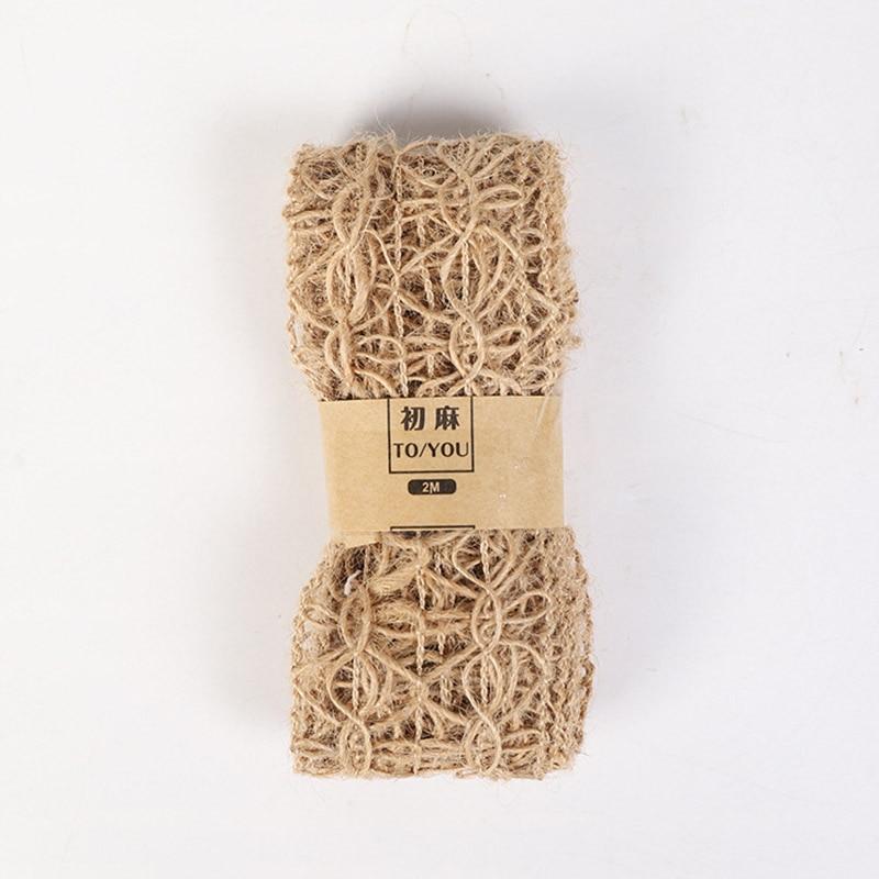 2 м/рулон, натуральные вечерние свадебные ленты, подарок, пеньковая лента, джутовая Мешковина, сделай сам, праздничные принадлежности, праздничные украшения - Цвет: E