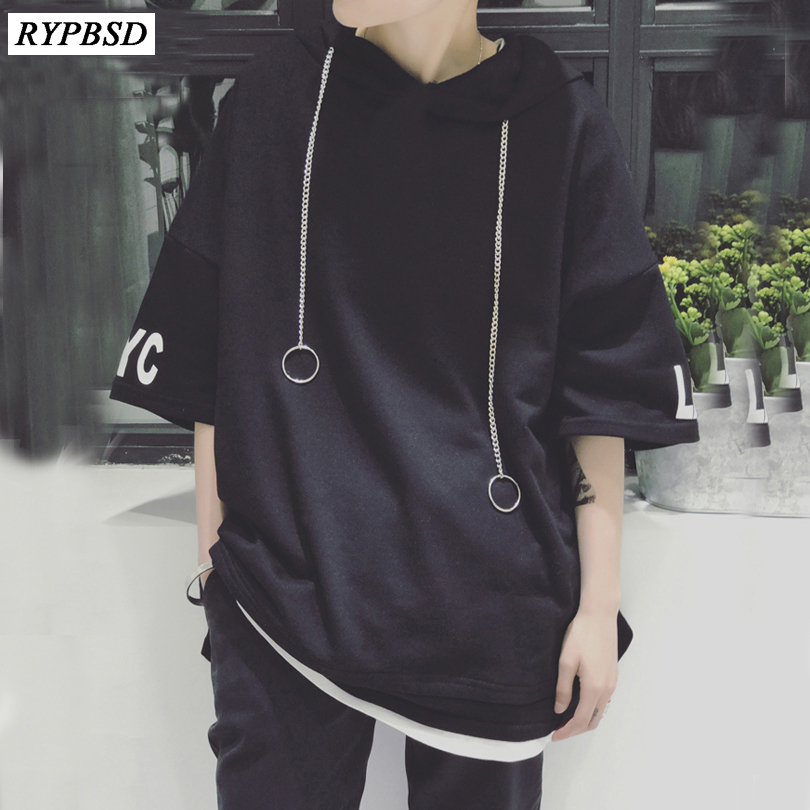 2019 Summer New Trend Metal Ring Street Hip Hop Oversize T-shirt Men Hooded Short Sleeve Pullover Hoodie Swag Tee Shirts Homme