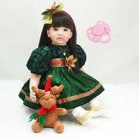 60cm Silicone vinyl reborn baby doll toy princess toddler girl babies dolls lifelike child birthday gift kid lovely doll present