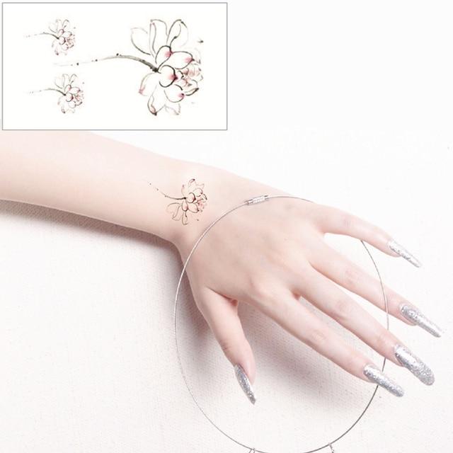 White Lotus Flash Tattoo Hand Sticker 10.5x6cm Small Waterproof Henna Beauty Temporary Body Tattoo Sticker Art FREE SHIPPING