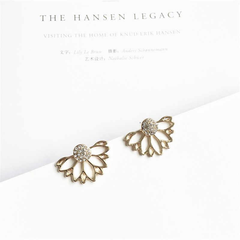 2017 Кристальные серьги-гвоздики в виде цветка для женщин, модное ювелирное изделие, золотые, серебряные, простой дизайн, стразы, ювелирное изделие e0400