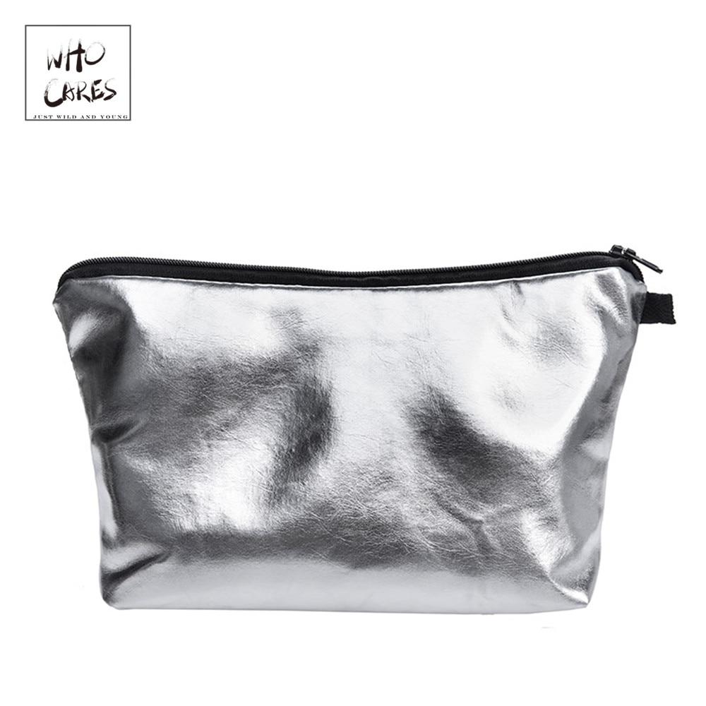 Silver PU Make Up Bags For Ladies Travel Women Portable Zipper Cosmetic Bag Makeup Organizer Cosmetiqueras Para Maquillaje