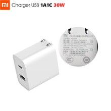 Original Xiaomi USB Charger 1A1C 30W(Max) Smart Output PD 2.0 QC 3.0 Quick Charging Type C 5V=3A 9V=3A 15V=2A 12V=2.25A Type A