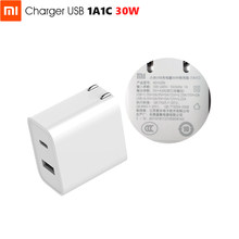 Original Xiaomi USB Charger 1A1C 30W(Max) Smart Output PD 2.0 QC 3.0 Quick Charging Type-C 5V=3A 9V=3A 15V=2A 12V=2.25A Type-A(China)