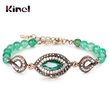 Kinel Hot Green Natural Stone Bracelets For Women Antique Gold Simple & Bangles Vintage Jewelry Drop Shipping 2018 New