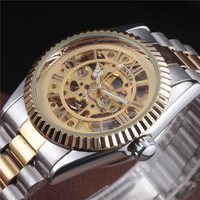 Top Brand WINNER Luxury Stainless Steel Strap Automatic Self Wind Skeleton Men Gold Dress Watch Male