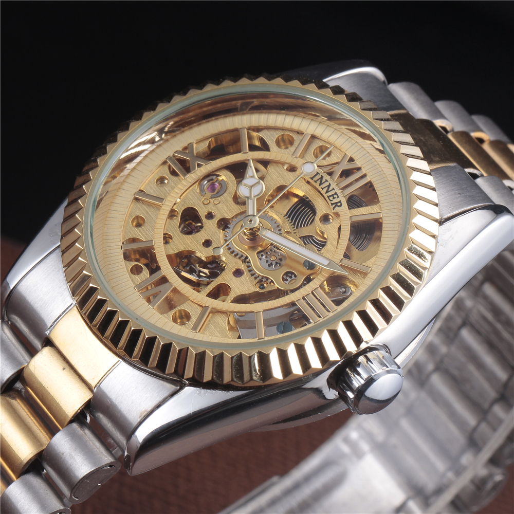 Top Brand WINNER Luxury Stainless Steel Strap Automatic Skeleton Watch Men Gold Dress Clock Male Mechanical Wristwatch Gift mce gold skeleton stainless steel designer mens watches top brand luxury automatic casual mechanical watch clock men wristwatch
