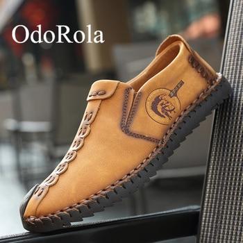 Zapatos de cuero con abertura para hombre de talla grande de OdoRola, mocasines de cuero para conducir, mocasines suaves para hombre, zapatos informales de cuero antideslizantes para hombre