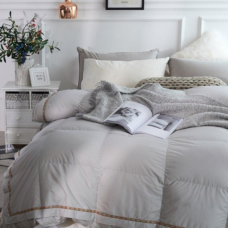 Luxe 1000 TC 100% Katoen Cover Ganzendons Dekbed dekbedovertrek Insert Queen King size Wit Roze Grijs Dekbed Alle seizoen-in Quilts van Huis & Tuin op  Groep 2