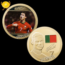 Cristiano Ronaldo Commemorative Coin World Cup Champions League Golden Boots Coins Collectibles Portugal Football Team Honor