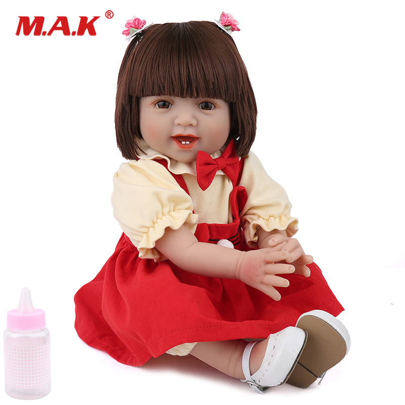 55cm Smiling Bebe Reborn Red Dress Girl Doll Lifelike Cute Todder Collection Toys for Children Birthday Christmas Gift55cm Smiling Bebe Reborn Red Dress Girl Doll Lifelike Cute Todder Collection Toys for Children Birthday Christmas Gift