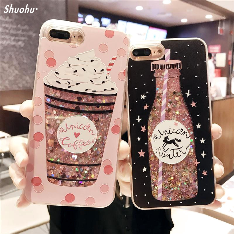 Cartoon Flower Bottle Quicksand Dynamic Liquid Glitter Phone Case for IPhone 6 X Cases for Iphone 7 Case 6S 7 8 Plus Cover Coque