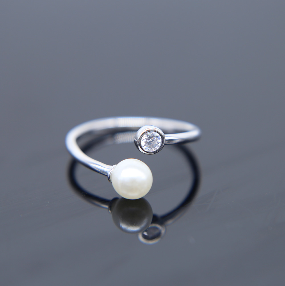 100% 925 Sterling Silver high quality sparking open adjust size 3 mix color women ladies finger pearl midi silver ring