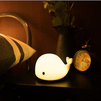 Dolphin Night light USB Smart Creative Silicone Desk Lamp Cartoon LED Bedroom Lighting Charging Whale Silicone Novelty Light