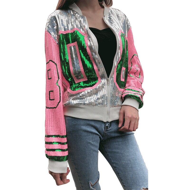 Модное женское пальто блестками куртка-бомбер с длинным рукавом на молнии уличная одежда Повседневная Туника блестящая верхняя одежда для женщин