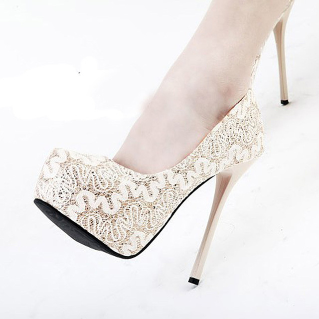 Sweetness Lace Super High Heel Shoes Round Toe Pump Gown Prom Fashion Office Free