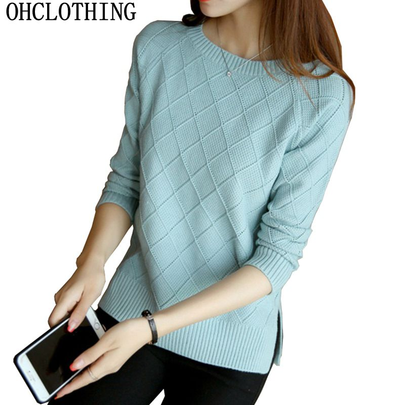 OHCLOTHING In The Spring Of 2019 New Women's Long Sleeved Pullover Female Loose Knit Short Shirt Coat Blouse
