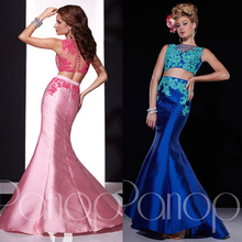 New Arrival 2015 Sexy Royal Blue Pink Mermaid Lace Two Piece Prom Dresses Women Long Special Occasion Evening Dress E6401