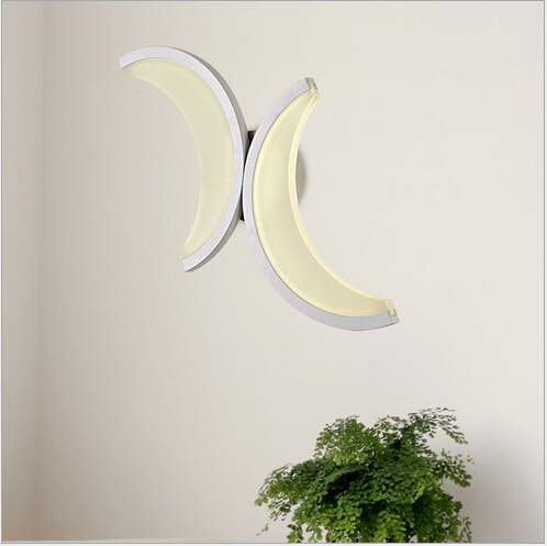 ФОТО modern brief novel creative moon light single head/double slider 12w/6w led acryl wall lamp living room bed room aisle light1546