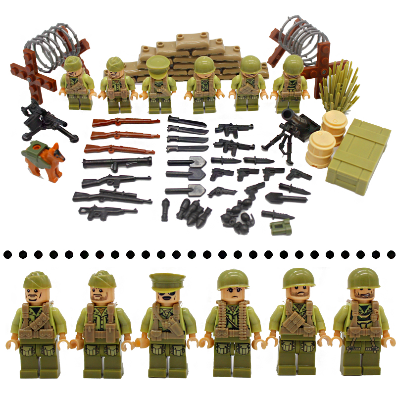 6PCS World War II US Military Soldiers Figures Bricks Model WW2 German Army Weapons Building Blocks Bricks LegoINGlys Kids Toy kazi military building blocks diy 16 in 1 world war weapons german tank airplane army bricks toys sets educational toy for kids